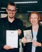 Clive and Hodder�s Anne Clark pose with