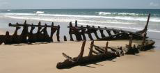 The wreck of the SS Dicky at Caloundra, Queensland.